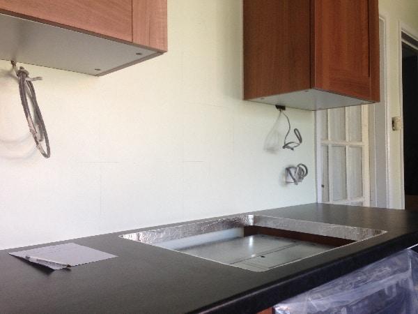 Pelmet lighting install underway in new kitchen in Stevenage.
